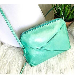 Vintage Hobo Leather Teal Crossbody bag